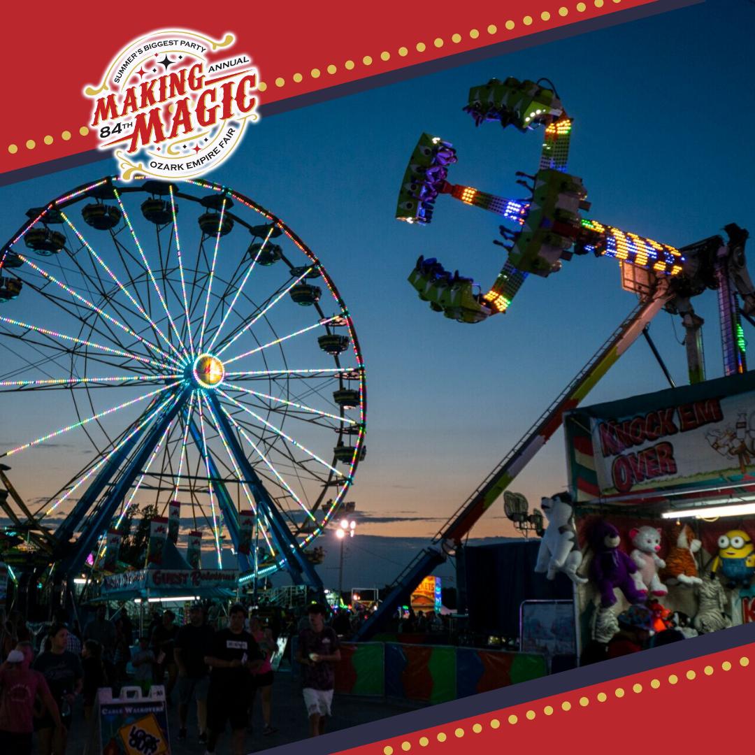 Carnival rides running at night