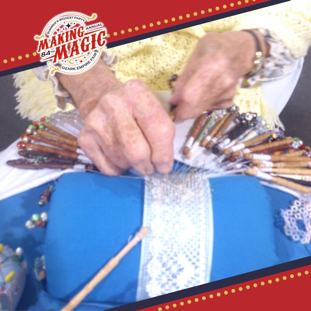 up close of a woman weaving lace