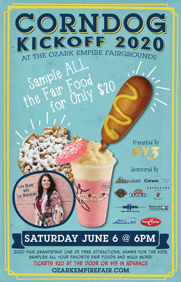 Blue poster with large corndog, smoothie, and funnel cake.
