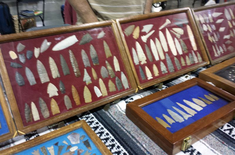 Display case with various arrowheads presented.