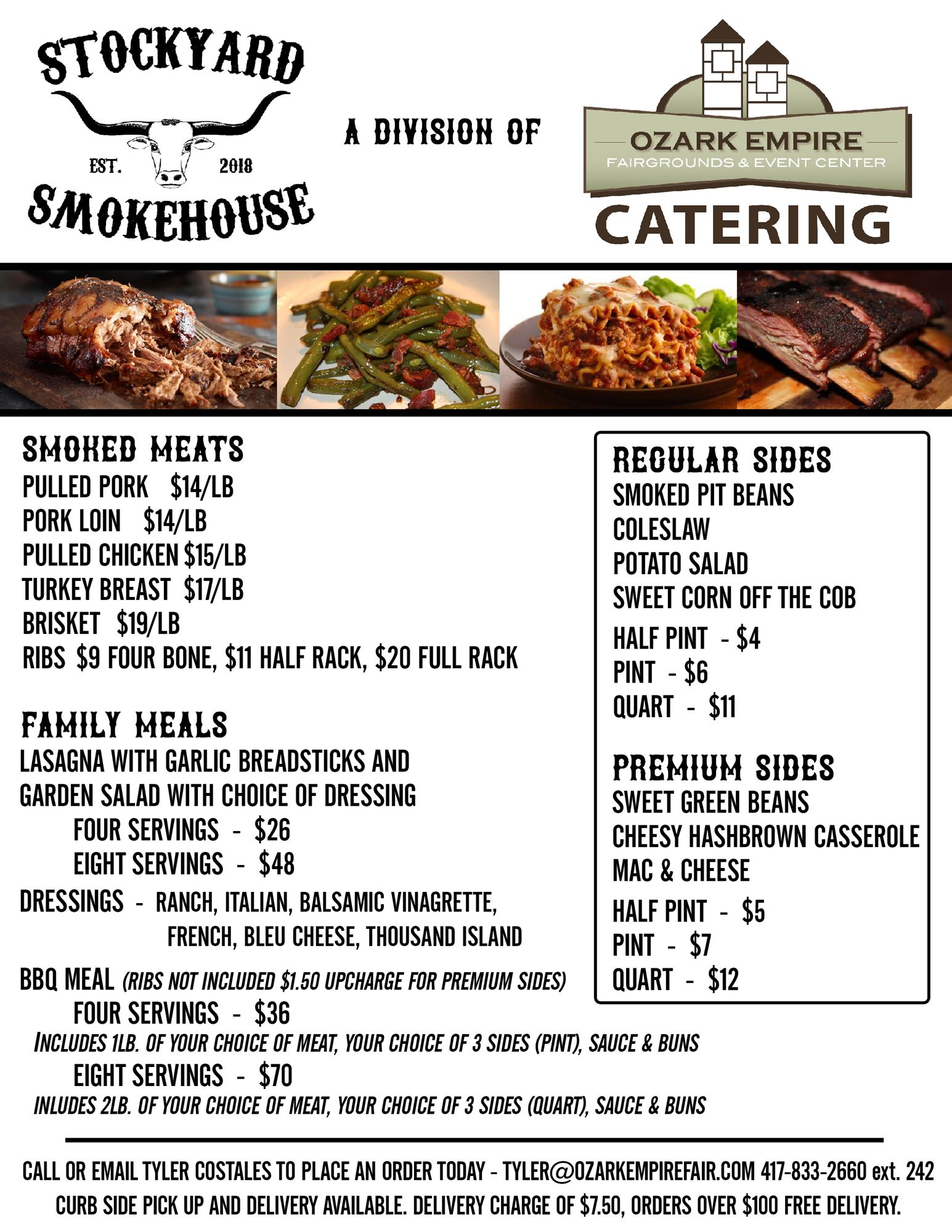 Poster for our Curbside Pickup menu. Offering Lasagna, BBQ meats and sides.