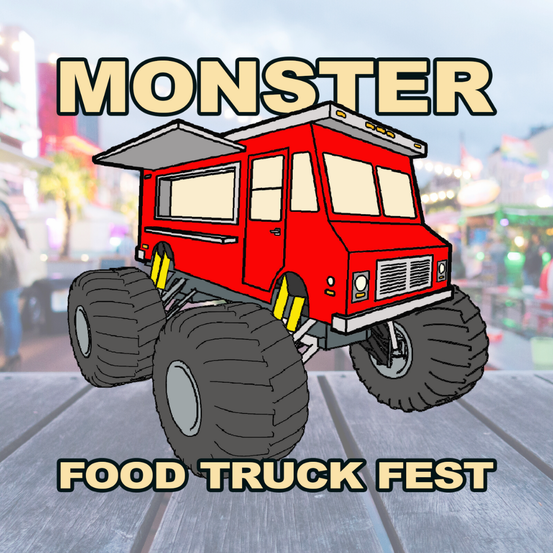 Monster Food Truck Fest Logo with a food truck park in the background