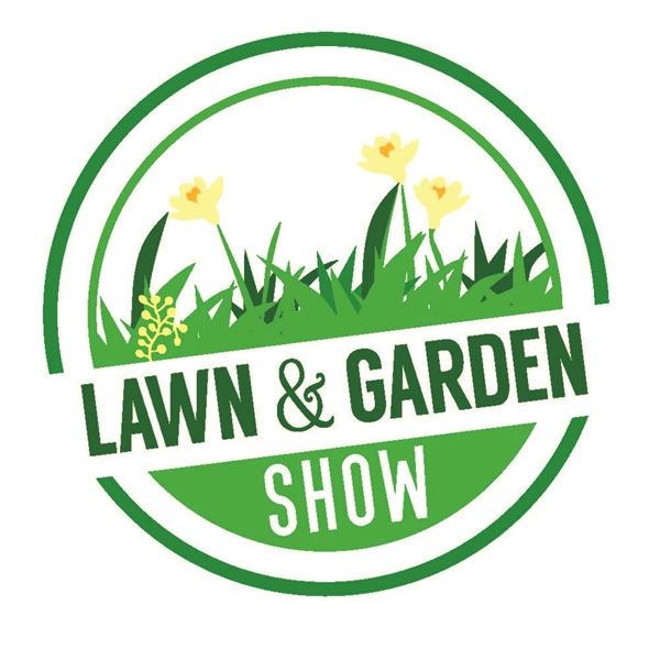 Green circle Lawn & Garden show logo with yellow daffodils