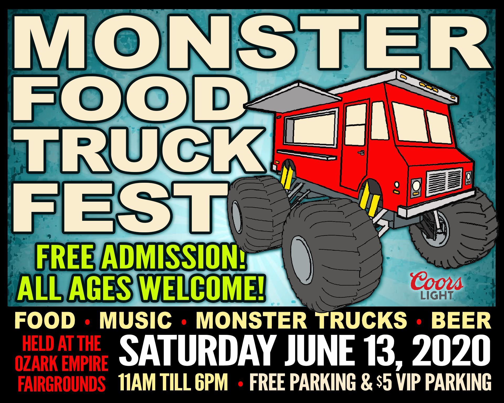 Red Food Truck clipart with Monster Truck tires.
