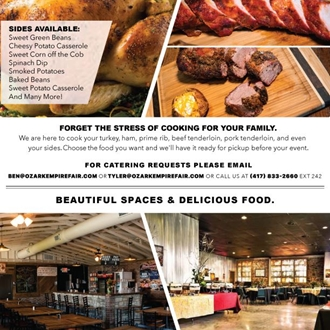 Postcard with catering details. Showcasing pork tenderloin, the Stockyard Smokehouse, Boot Daddy Saloon and a smoked turkey.