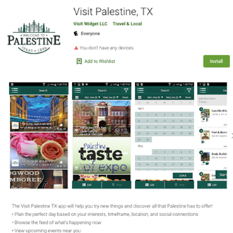 Visit Palestine, TX Mobile App (Android)