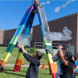 solar powered BubbleYou® Bubble Tower -the world's biggest bubble toy®