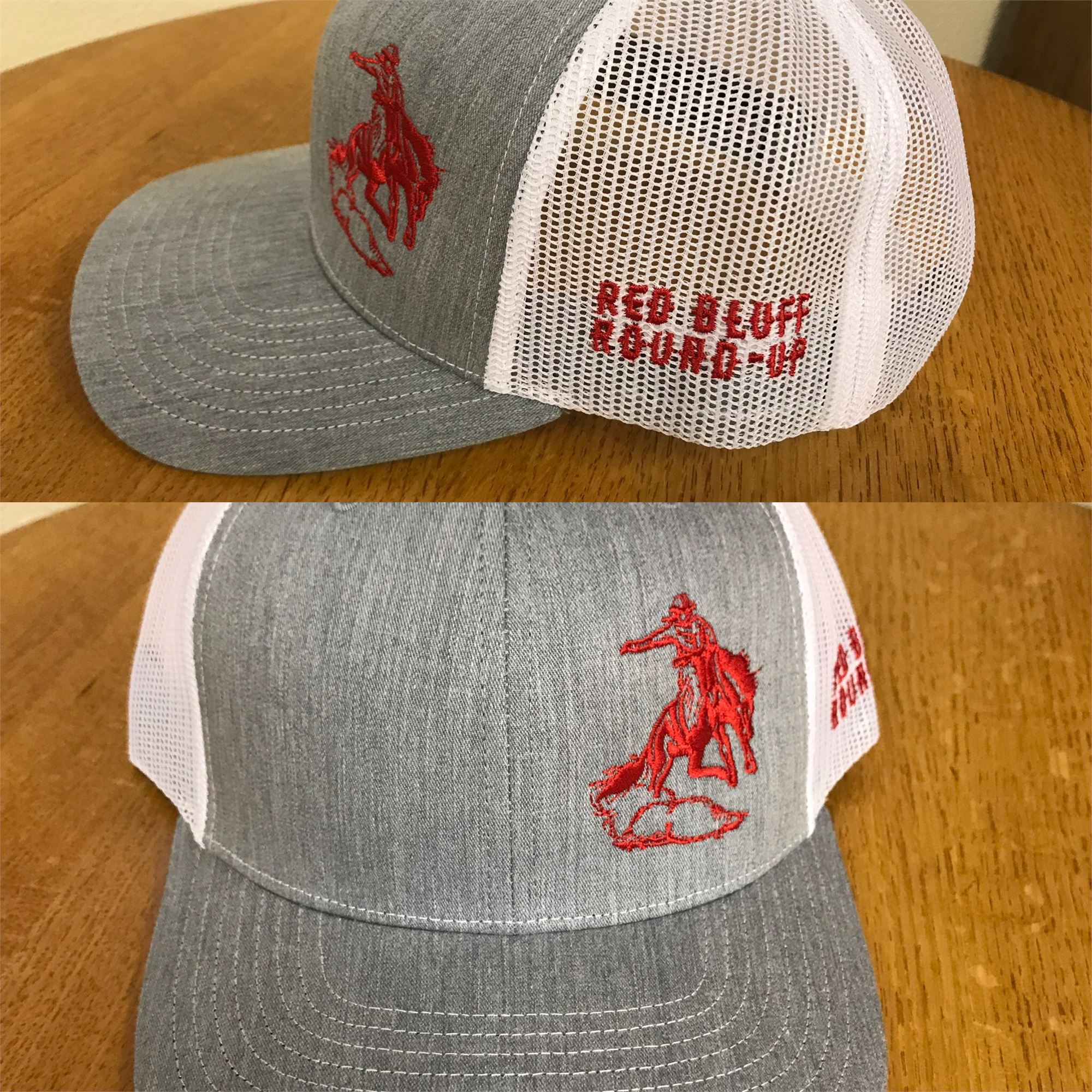 327ee42f Gray/Red/White Mesh Back Hat