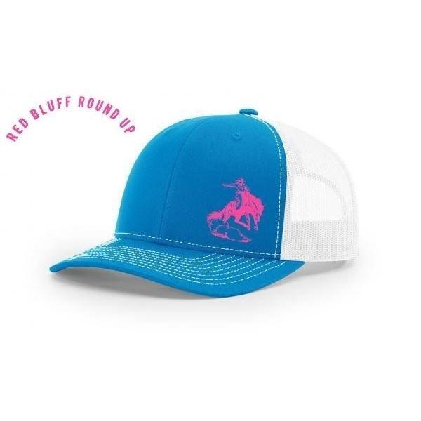 Cyan Blue and Pink Hat