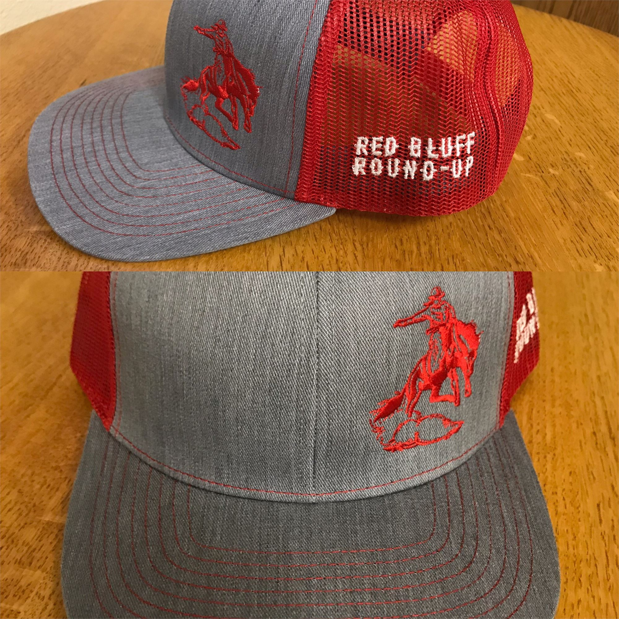 Gray and Red Mesh Back Hat