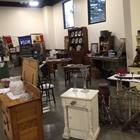 Antique shelves and desks on display