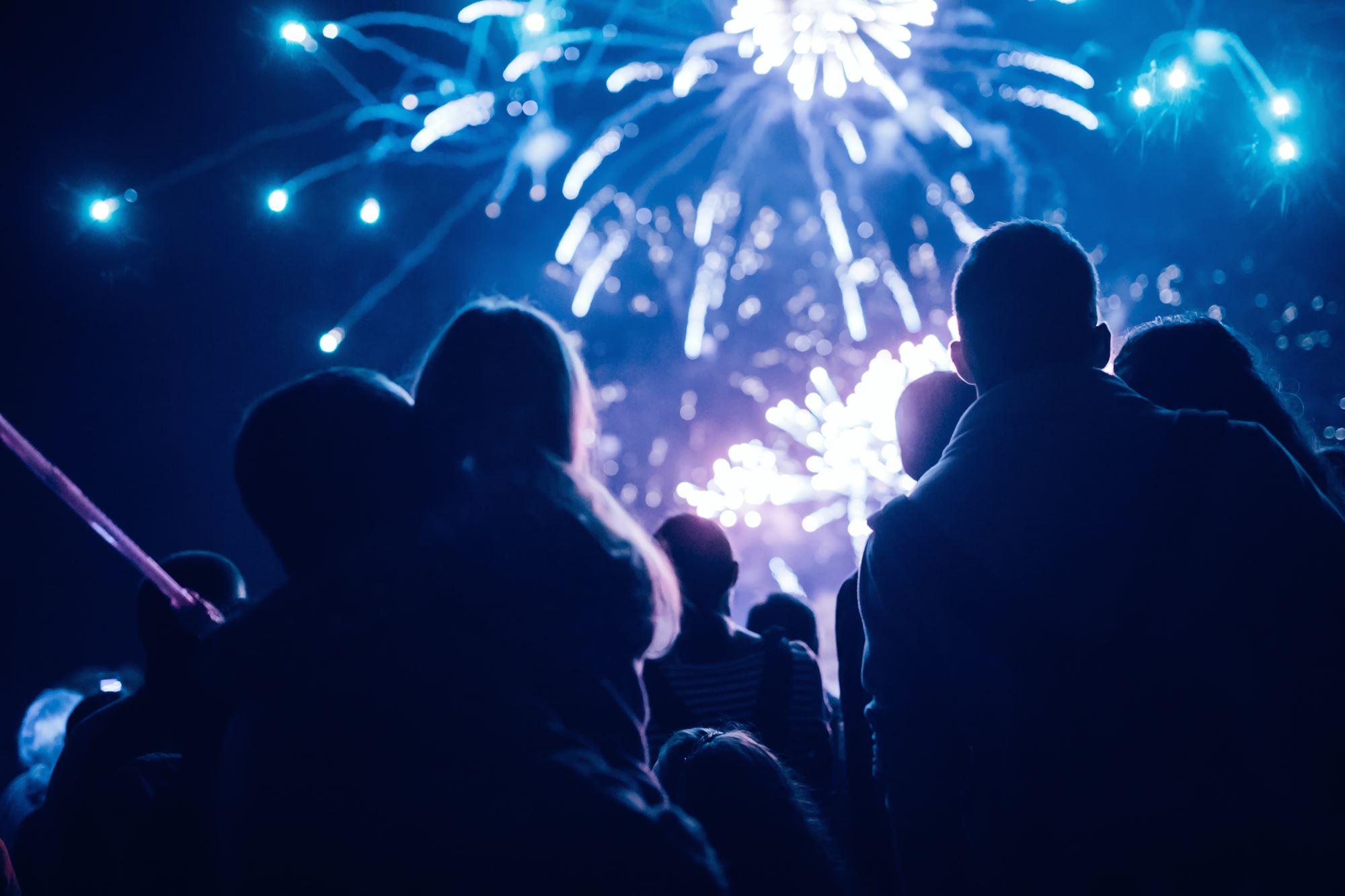 Onlookers watching fireworks