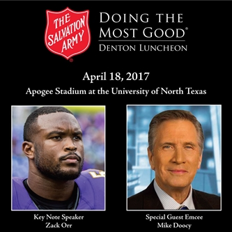 Fmr UNT & Baltimore Ravens Star Zach Orr to Deliver Keynote During SA Denton's 2017 Annual Luncheon