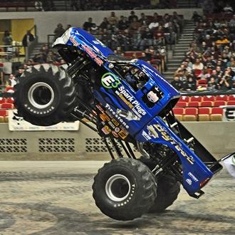 big tires, big truck, blue truck, dirt