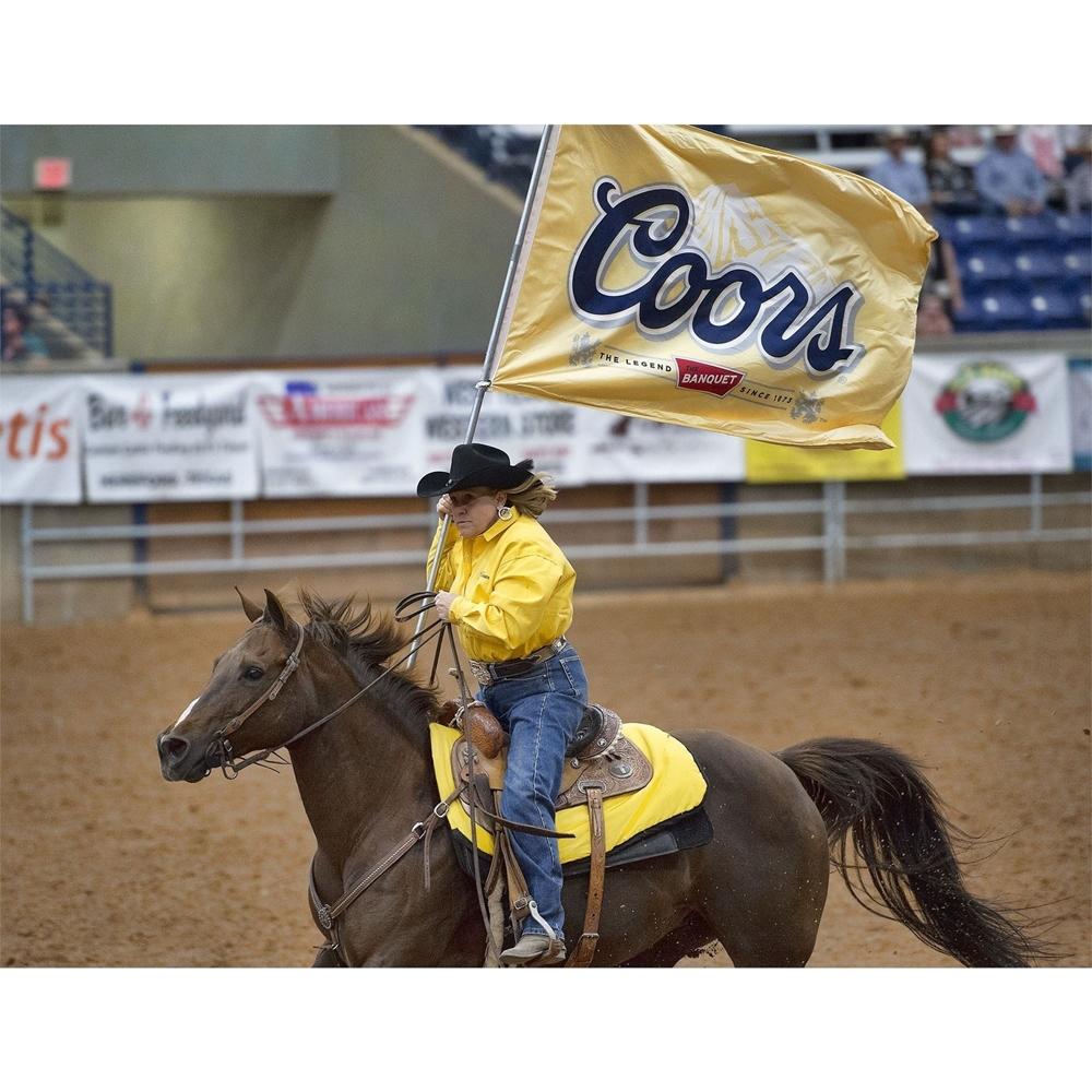 rider, yellow shirt, coors flag, horse