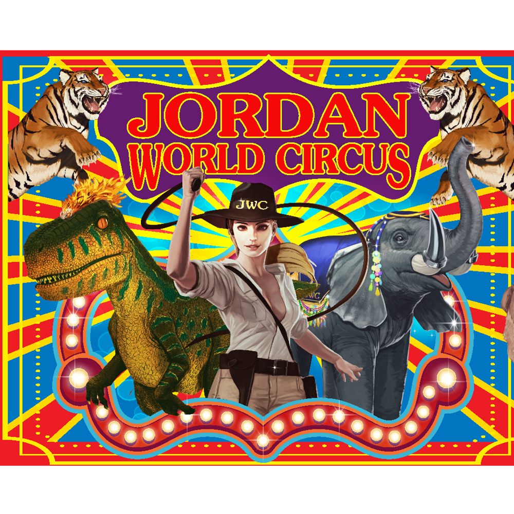tigers, dinosaur, elephant, lady in hat with whip