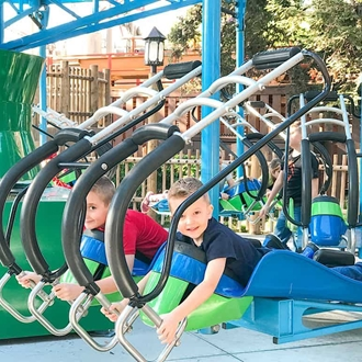 Two boys on ride at Knott's Berry Farm in Buena Park, CA
