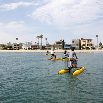 People riding hydrobikes at Long Beach Hydrobikes