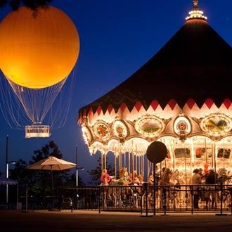 Hot air balloon and carousal at Orange County Great Park