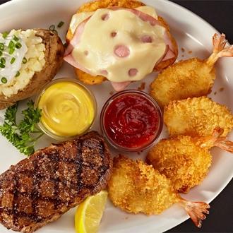 Steak, potato, shrimp, and sandwhich at Sizzler in Buena Park