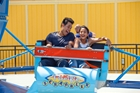 Father and daughter on ride at Knott's Berry Farm in Buena Park
