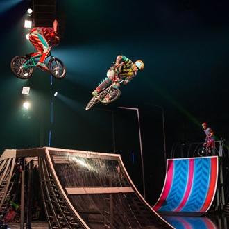 Bikers on stage at Cirque du Soleil