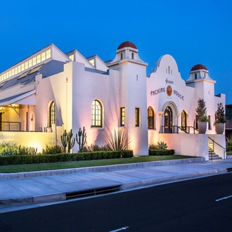 Anaheim Packing House building at night