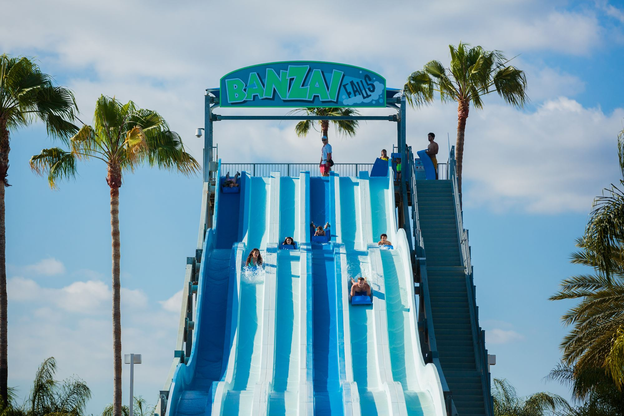 Family on water slide at Knott's Soak City in Buena Park, CA
