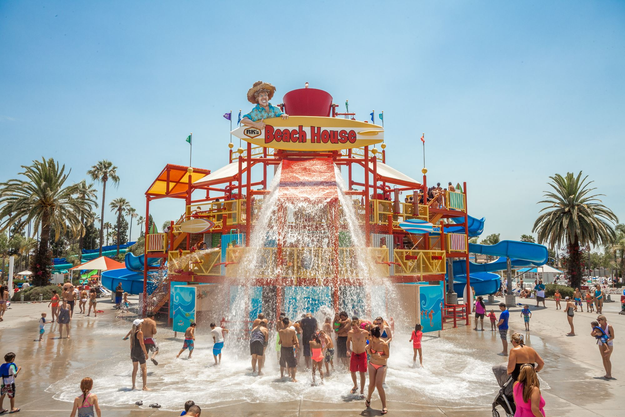 Water playground with children playing at Knott's Soak City in Buena Park, CA