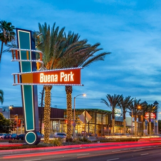 Buena Park Median Sign at Dusk