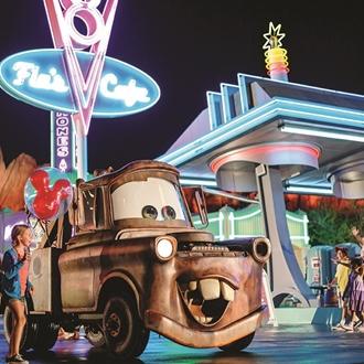 Disneyland Resort Carsland Guests with Mater