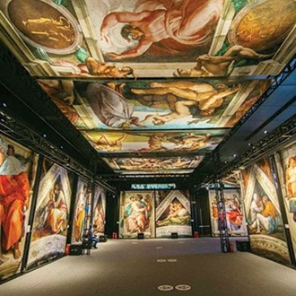 Room with Michelangelo's Sistine Chapel painted on the walls at Michelangelo's Sistine Chapel: The Exhibition