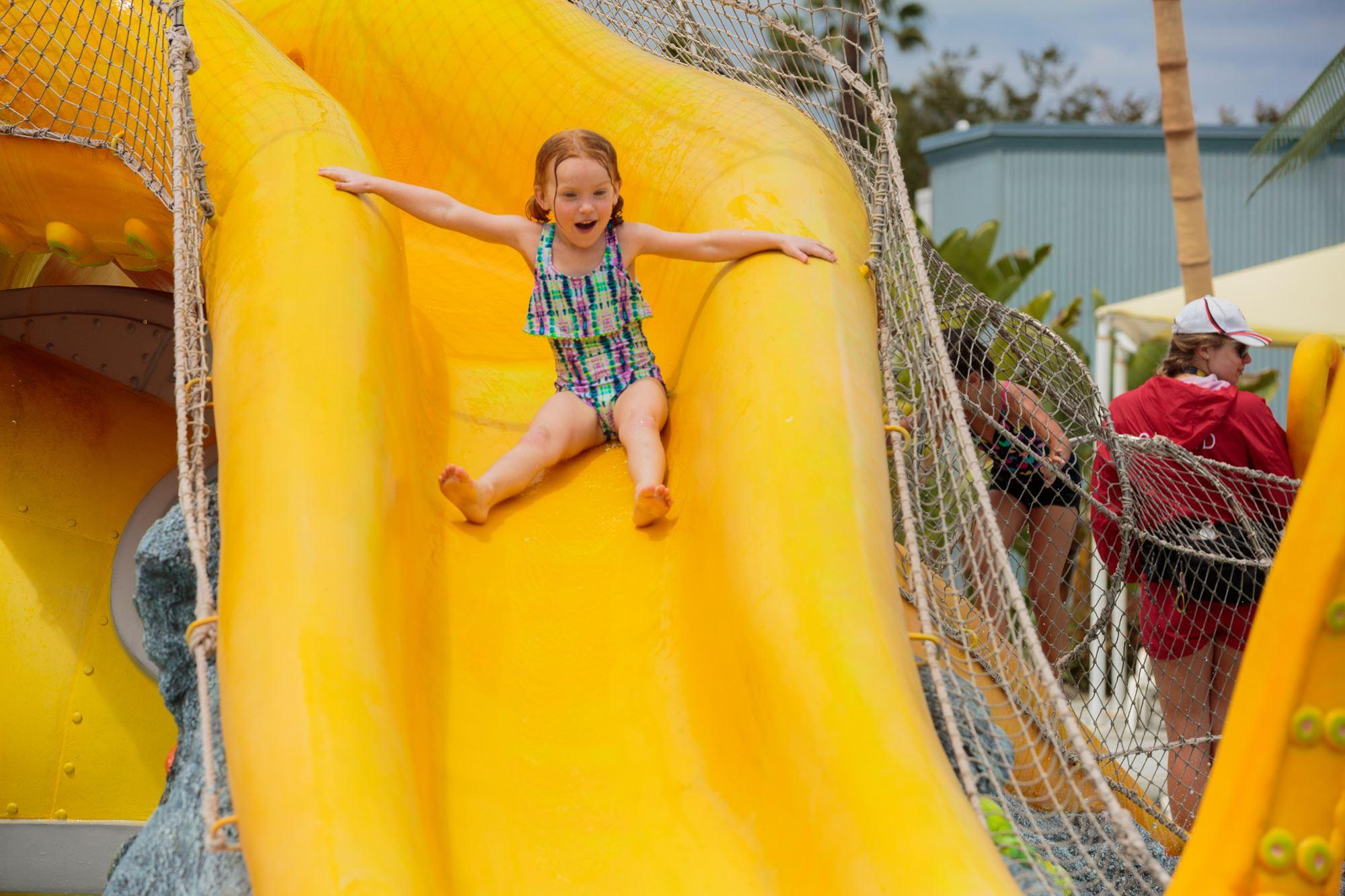 Girl on slide at Knott's Soak City in Buena Park, CA