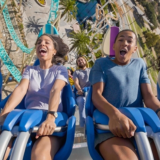 Man and woman on HangTime ride at Knott's Berry Farm in Buena Park, CA