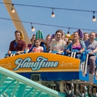 Riders on Hangtime at Knott's Berry Farm in Buena Park