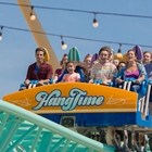 Riders on Hangtime ride at Knott's Berry Farm in Buena Park, CA
