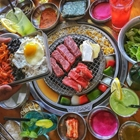 Meet on grill with sides at Kang Ho Dong in Buena Park