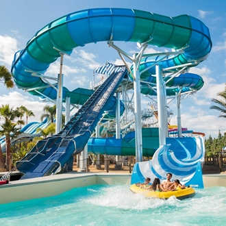 Knott's Soak City Waterpark Family on Slide