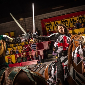 Two Knights jousting at Medieval Times in Buena Park, CA