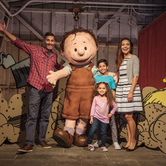 PigPen with family at Peanuts Celebration at Knott's Berry Farm in Buena Park, CA