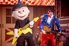 Woddtock and musician at PEANUTS celebration at Knott's Berry Farm in Buena Park, CA