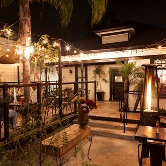 Outdoor patio of Poquito Mas in Buena Park, CA.