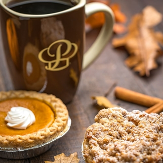 Cup of coffee and pies at Portos in Buena Park, CA