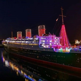 Queen Mary Ship with Christmas Decorations