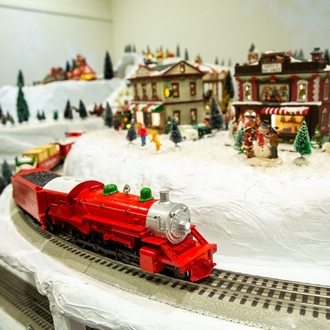 Miniature buildings and train at Richard Nixon Library