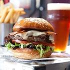 Hamburger, fries, and beer at Rock and Brews in Buena Park, CA