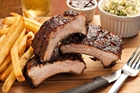 Ribs, fries, fork, kneif at Rock and Brews in Buena Park, CA