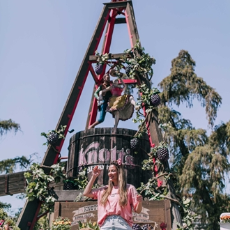 Woman posing at Knott's Berry Farm in Buena Park, CA.
