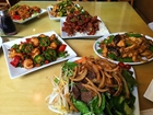 Chinese food including shrimp, chicken, and beef at New Moon in Buena Park, CA