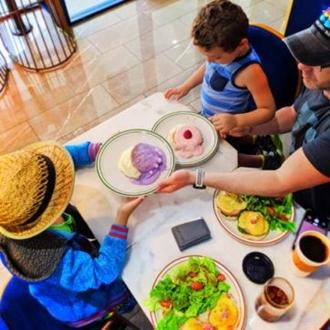 Family eating breakfast at Basillur Tea in Buena Park, CA